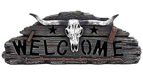 Western Bull Skull Horns Barb Wire Sign Statue Sculpture, 17-inch, Welcome Home Garden Decoration
