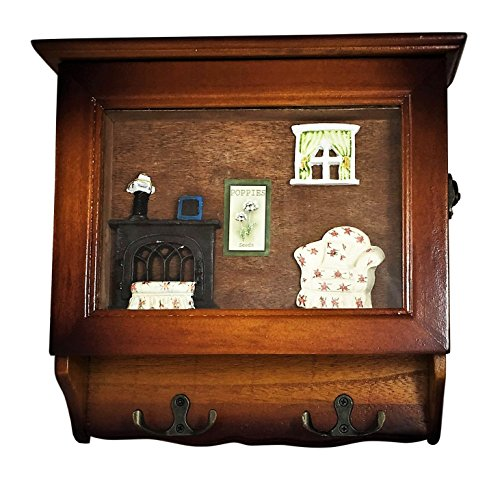 Heartful Home Key Holder Wall Mounted Organizer - Save Time & Hassle with Top Quality Decorative Wood Keychain Storage Rack with Hooks - Great Housewarming, Wedding, Anniversary Gifts! (Fireplace)