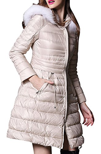 LIYAYI Womens Slim Fit Zipper Fur Hoodie Insulated Puffer Thicken Down Coats<br />