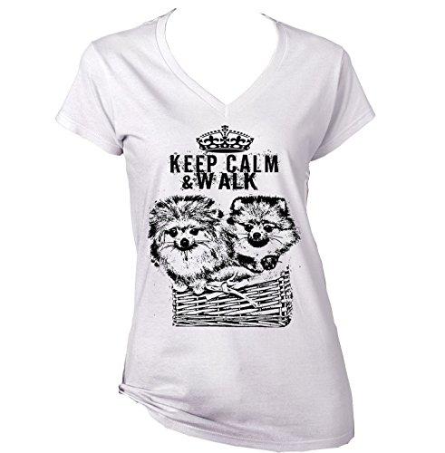 teesquare1st CHIHUAHUAS LONG HAIR KEEP CALM & WALK P - New Cotton Graphic White T-Shirt Small Size