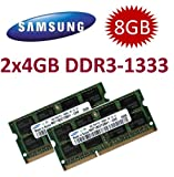 Samsung Original (Mihatsch & Diewald) 8GB Dual Channel Kit 2 x 4 GB 204 pin DDR3-1333 (1333Mhz, PC3-10600, CL9) - for Lenovo Ideapad B460 / B560 / S205 / S460 / S460s / S400 / U260 / U550 /U300 / U300s / U350 / V470 / V570 / Y460 / Y460p / Y470 / Y560p /