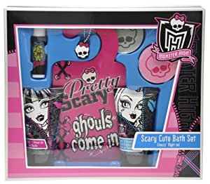 Monster High Coffret Bain Porte Clés + 2 Galets Effervescents Bain + Baume à Lèvres 4,5 g + Gel Douche 50 ml + Lotion Corps 50 ml + Pancarte de Porte