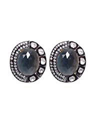 Blue Sapphire & White Sapphire Gemstone Studded Studs Earring