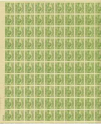 Fort Dearborn Sheet of 100 x 1 Cent US Postage Stamps NEW Scot 728
