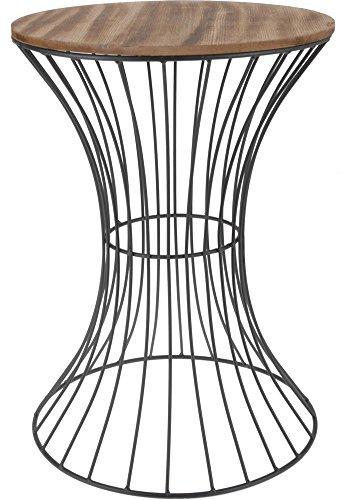 designer beistelltisch aus metall mit holz tischplatte dekorativer tisch mit geschwungenem. Black Bedroom Furniture Sets. Home Design Ideas