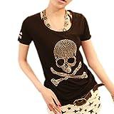 (ライムガーデン) Lime Garden スカル Tシャツ 半袖 ラインストーン カジュアル レディース スリム 骸骨柄 チュニック ロックテイスト ブラック M