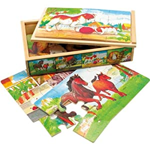 4 Puzzles in wooden box, animals