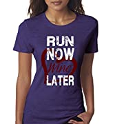 Run Now Wine Later Women's Ladies Fitness Funny T-Shirt By Superior Apparel Medium Purple