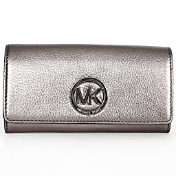 Michael Kors Fulton Carryall Gunmetal Leather Wallet Clutch