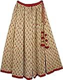 "TLB - Designer Full Circle Cotton Drawstring Skirt - L:38""; W:24"" -36"""