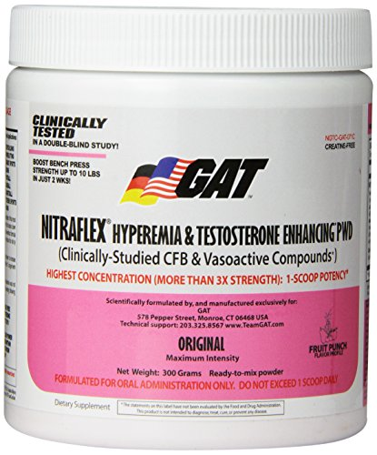 GAT  Clinically Tested Nitraflex Testosterone Enhancing Pre Workout, Fruit Punch,300 Gram
