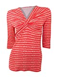 House of Fraser Linea 3/4 sleeve stretchy v neck red top with knot detail (M approx size 10)