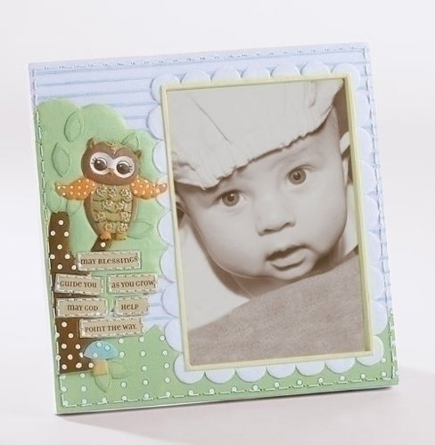 "Pack of 4 Religious Verse Baby Owl Embellished 3.5"" x 5"" Photo Picture Frames"