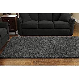 Mohawk Home Decorative Habitat Shag Area Rug - Grey Flannel. 8\' X 10\' (96 Inches X 120 Inches). Plush Pile & Thick Padding Resists Shedding. Made of Tufted Olefin. Tolerant to Spills. Easy to Clean. Non-skid Backing Helps Keep It Firmly in Place.