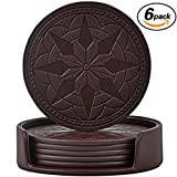 Coasters,PU Leather Coasters for Drinks Set of 6 with Holder-Protect Your Furniture from Stains by 365park,Coffee
