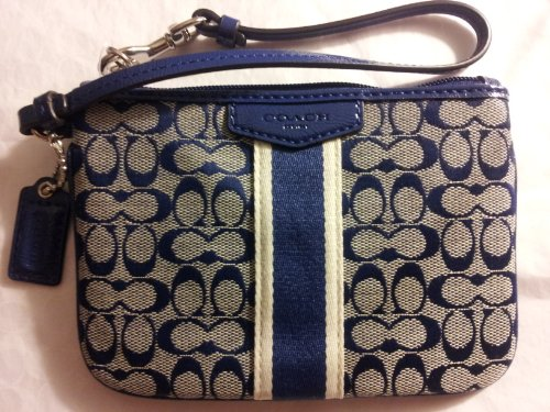 Coach   Coach Signature Stripe Small Wristlet 51164 Navy Navy
