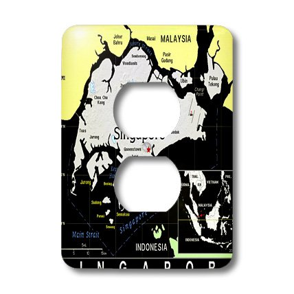 Lsp_160242_6 Florene Maps Of Countries In Exotic Format - Modern Map Of Singapore In Vivid Color - Light Switch Covers - 2 Plug Outlet Cover