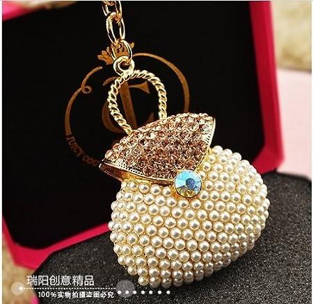 White Pearl Bag Keychain Jewelry Fashion Crystal Metal Key Ring Gift Purse Charm Handbag