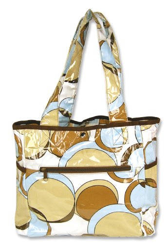 Trend Lab Tulip Tote Style Diaper Bag, Bubbles Teal (Discontinued by Manufacturer)