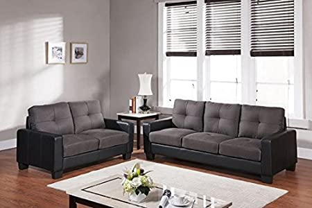 Furniture2go UFE-2406 Mirana Two Tone 3 Seat Sofa + Loveseat - Textured Fabric Back and Seat Cushions - Synthetic PU Leather
