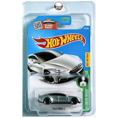 Hot Wheels 2016 Green Speed Tesla Model S ZAMAC Bare Metal Silver WITH PROTECTOR (Tesla Model S Hot Wheels compare prices)