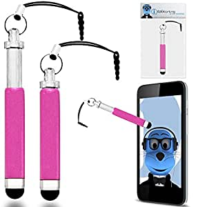 Verykool R800 Pink Premium RETRACTABLE MINI Captive Touch Tip Stylus Pen with Rubber Tip and 3.5mm headset Jack Dangley Adapter