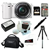 Sony NEX-5TL W NEX5TLW Compact Interchangeable Lens Digital Camera w E-mount 16-50mm Lens in White + Sony 16GB SD Card + Sony Camcorder Case + Replacement NP-FW50 Battery for Sony + Accessory Kit
