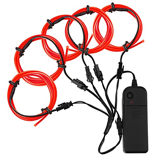 Zitrades El Wire Red 4 Modes Battery Operated Neon Glowing Strobing Electroluminescent EL Wires Kits For Decoration Halloween Christmas Party (El Wire Clothing compare prices)