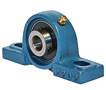 UCP204 Pillow Block Mounted Bearing, 2 Bolt, 20mm Inside Diameter, Set screw Lock, Cast Iron, Metric