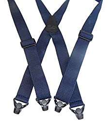 Blue No-buzz Airport Friendly Hold-Up Suspenders X-back Patented Gripper Clasps