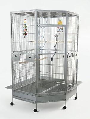 WorldStores Raleigh Large Bird Cage - Corner Design - 2 Perches, 4 Feeders - Parrot