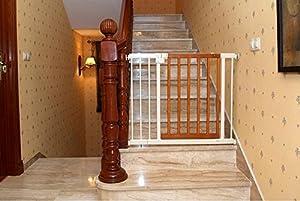 Barrera de seguridad para escaleras y puertas, de metal y madera, seguridad para el bebé
