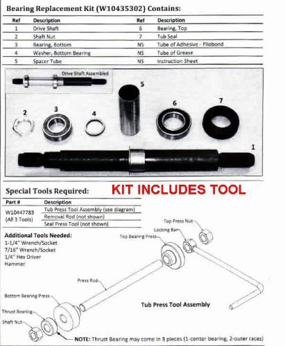 Whirlpool Cabrio Washer Bearing and Tool Kit