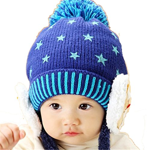 children-baby-fashion-lovely-christmas-winter-bear-ear-flaps-hat-knit-hat-hedging-cap-beanies-blue