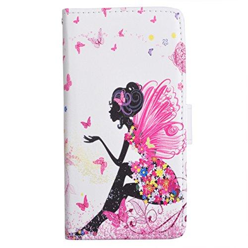 Voguecase® Per Alcatel One Touch Pop 3 5.0, (farfalla ragazza) Elegante borsa in pelle Custodia Case Cover Protezione chiusura ventosa Con Stilo Penna