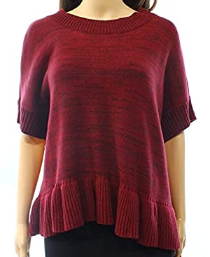 Romeo+Juliet Women's Small Knit Ruffle Crewneck Sweater Red S