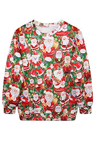 Pink Queen Fashion Santa Claus Print Christmas Sweatshirt Sweater