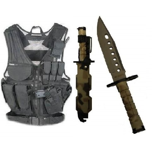 Ultimate Arms Gear Stealth Black Lightweight Edition Tactical Scenario Military-Hunting Assault Vest W/ Right Handed Quick Draw Pistol Holster + British Multi Terrain Camo Camouflage Lightweight Cut Stainless Steel M9 M-9 Military Survival Blade Bayonet K