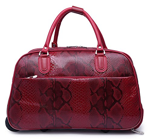 Big Handbag In Flight Holiday Travel Holdall Hand Luggage Weekend Trolley Bag (Red - Snake Print) (Trolley Bag Uk compare prices)