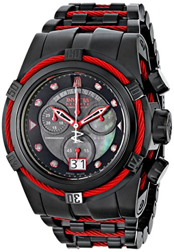 Invicta 16001 53 mm en color negro pulsera de acero y con el reloj de los hombres de la fusión de la llama
