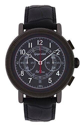Gigandet Reloj de Hombre Cuarzo Red Baron IV Cronógrafo Analógico Cuero Gris Negro G19-002