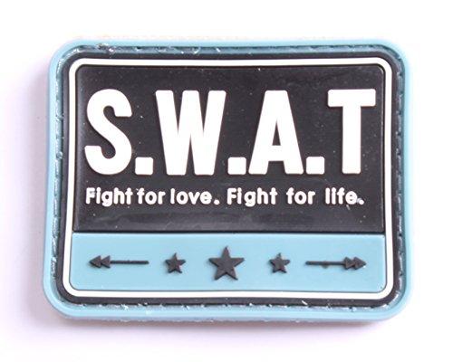 5枚セット! ベルクロ付き PVC ワッペン パッチ 徽章 サバゲー  SWAT (B)   L935