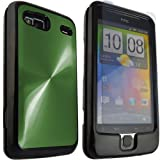 ONX3 HTC Desire Z Dark Green Protective Aluminium Hard Back Case + LCD Screen Protector Guard