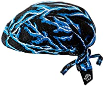 ZANheadgear Flydanna 100 Percentage Polyester Lightning Vented Sport Bandanna (Mesh Blue)