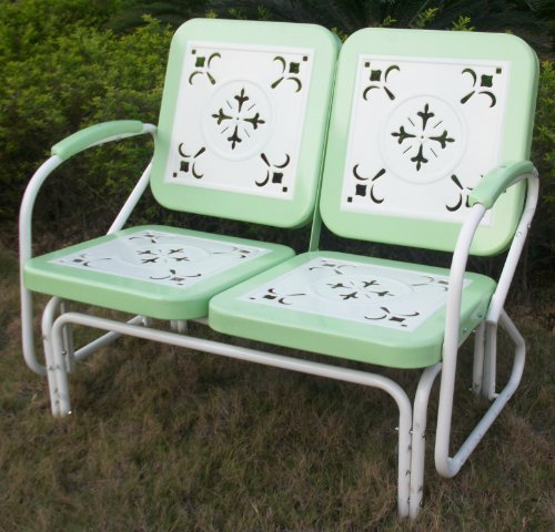 Double Metal Retro Glider With Cutout Design front-715190