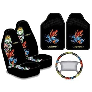 ed hardy koi fish 5pc auto accessories interior combo kit automotive. Black Bedroom Furniture Sets. Home Design Ideas