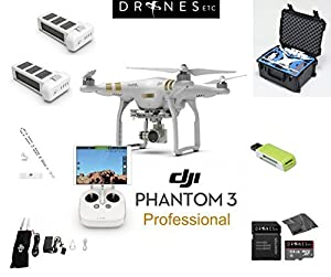 DJI Phantom 3 Professional Quadcopter Drone Bundle with 4K UHD Video Camera + Extra Battery + Go Professional Case + Free Extras: 64GB SD Card + USB Card Reader + Lens Cloth + Drones Etc. Lanyard!
