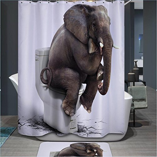 'Materials Tenda da doccia a forma di simpatico elefante molti Beautiful Tende da doccia, di alta qualità, impermeabile, anti muffa 66x 180cm
