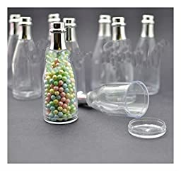 50 Fillable Champagne Bottles Wedding Party Shower Event Favors Candy Clear Gift