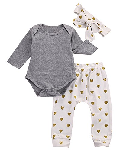 Baby Girls 3pcs Outfits Bodysuits with Sweetheart Leggings Headband Toddler Clothes (3-6M, Sweetheart)